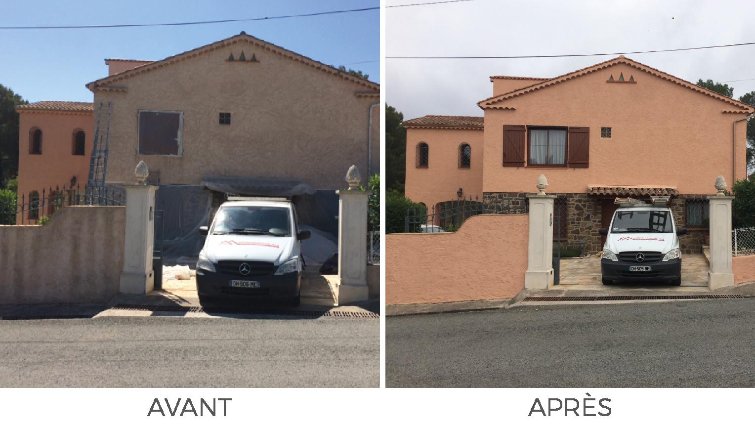 Artisan Monsieur Jean réalise la peinture et le ravalement de votre façade et muret à Vidauban, Draguignan, Lorgues